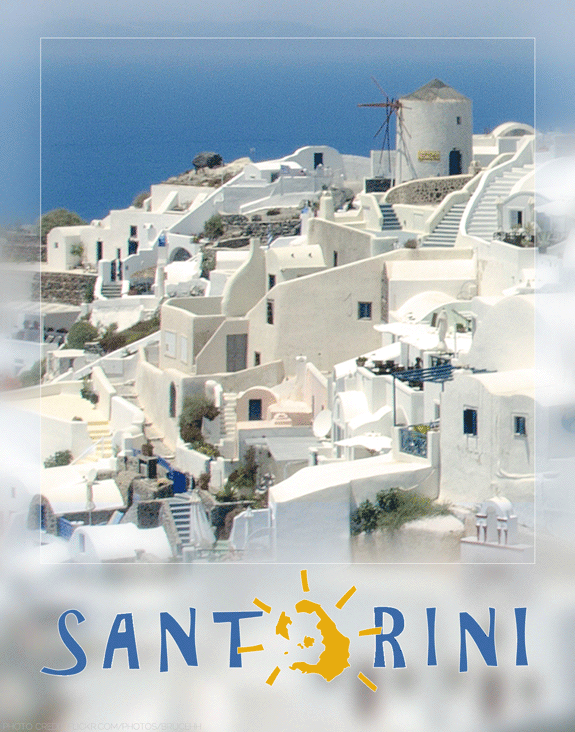 santorini travel poster designed by shelli; photography by flickr user brucehh used in accordance with creative commons licensing