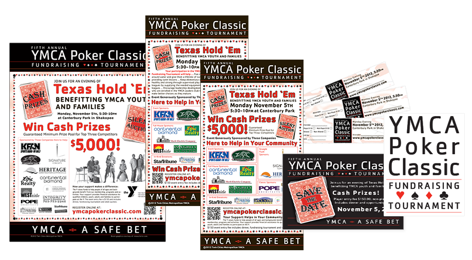 YMCA Poker Classic Fundraising Tournament marketing materials designed by the good folks at mtouchettemedia.com